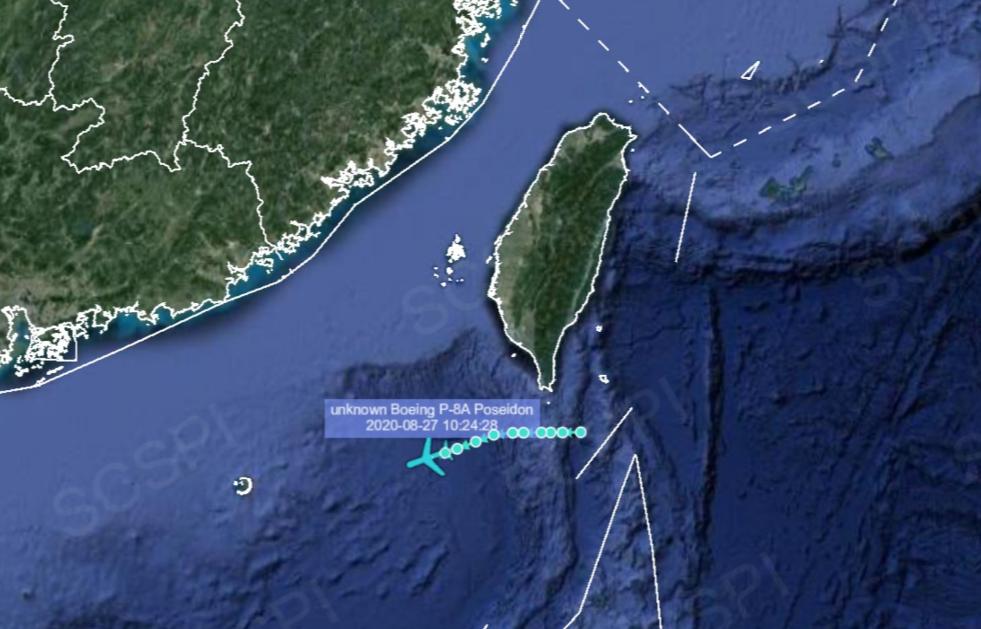 """""""南海战略态势感知""""计划平台8月27日发布的美军P-8A反潜巡逻机飞行路线"""