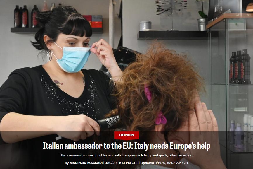 """(""""政客""""新闻网欧洲版:意大利大使告诉欧盟,意大利需要欧洲的帮助。)"""