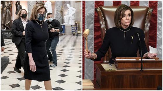当地时间13日,佩洛西身穿与首次投票弹劾特朗普时相同服装。图片来源:《国会山报》
