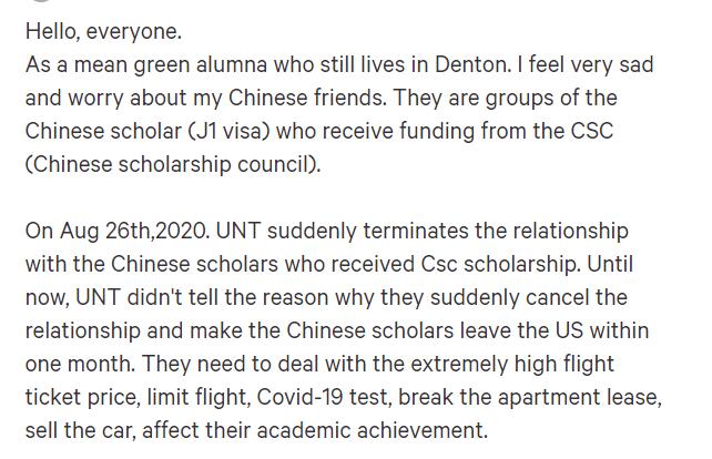 (截图来自change.org上为北得克萨斯州大学的中国公派学生求助的帖子)