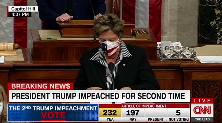 CNN直播:众议院最终以232:197票,表决通过弹劾案