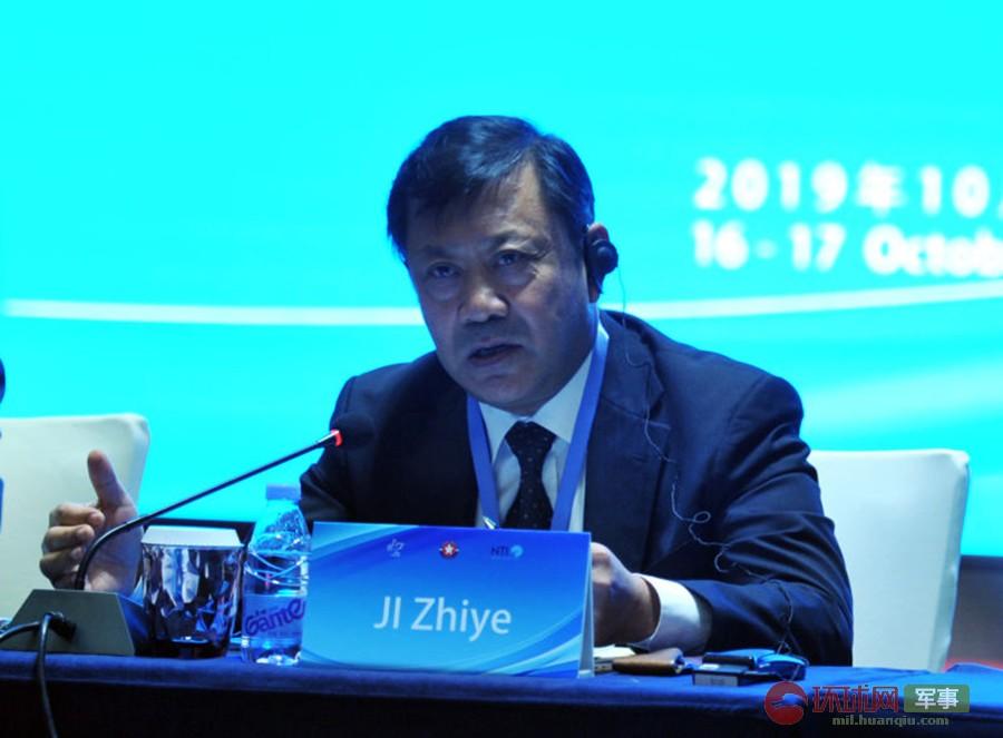 2019年10月16日,中国现代国际关系研究院高级顾问、前院长季志业在出席第十六届北京国际军控研讨会第一场圆桌会议时发言。  杨铁虎 摄