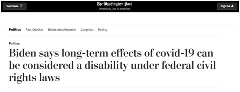 《华盛顿邮报》:拜登表示,根据联邦民权法,受新冠长期影响可以被视为一种残疾
