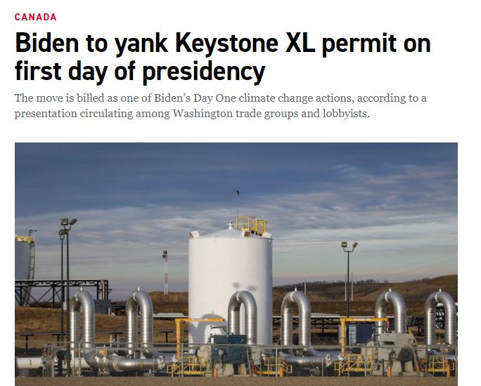 (截图来自美国政治资讯网站Politico的报道,称拜登打算在就职当天就废掉美加输油管Keystone XL项目)