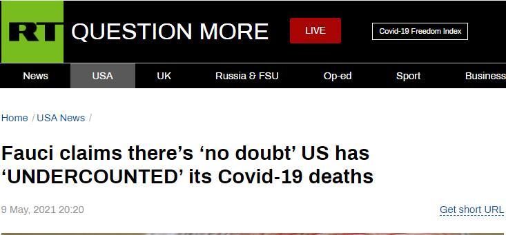 (RT:福奇称,毫无疑问,美国一直在低估新冠死亡病例数)