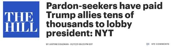《国会山报》:寻求赦免者向特朗普盟友支付数万美元游说总统