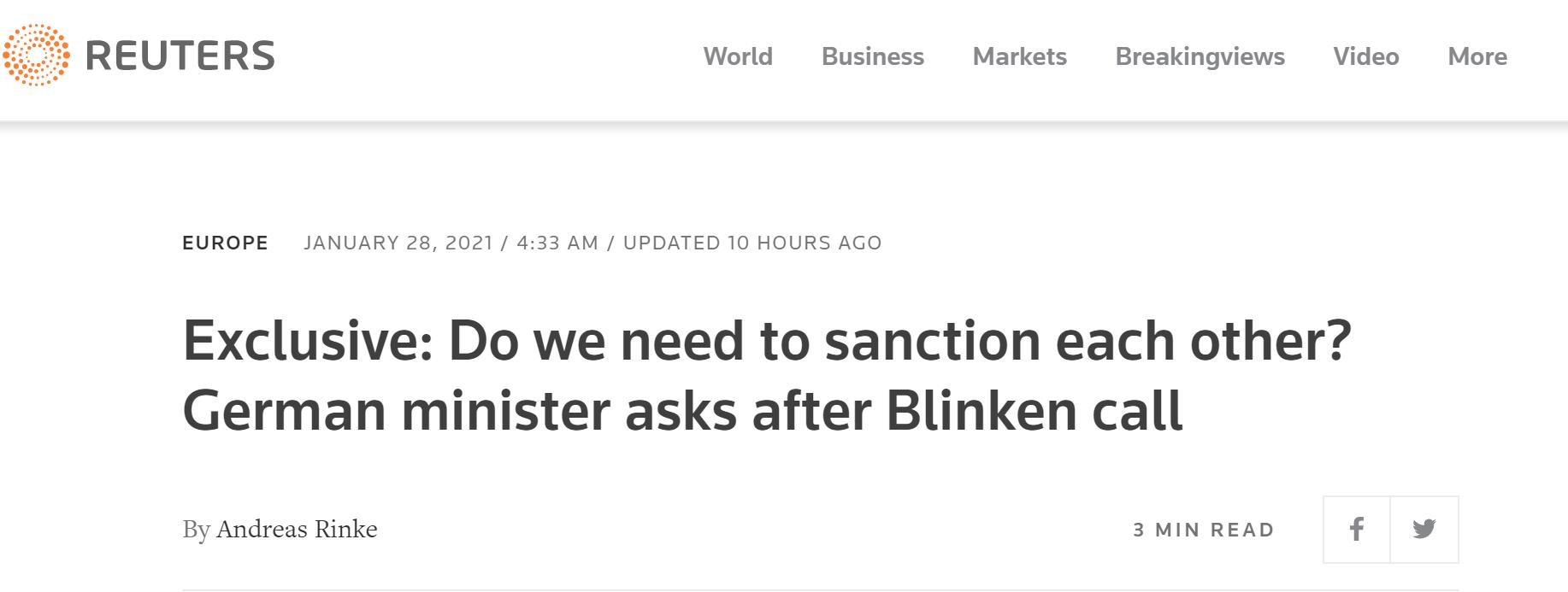 """路透社报道截图:德国外长在与布林肯通话后发出质疑,""""我们需要彼此制裁吗?"""""""